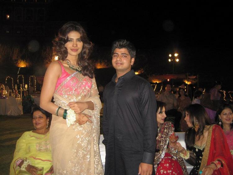Priyanka Chopra In Net Saree Still at Her Best Friend Wedding