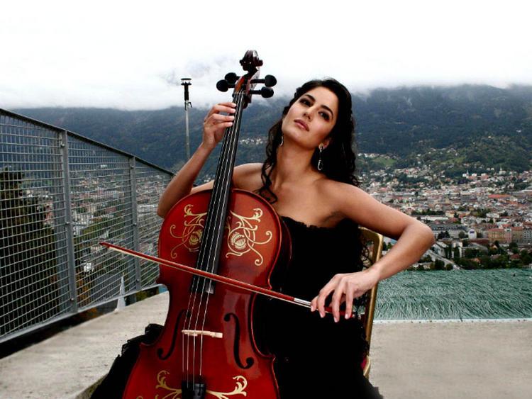 Katrina Kaif Red Violin Playing Still