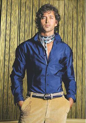 Hrithik Roshan Sexy Still In Blue Shirt