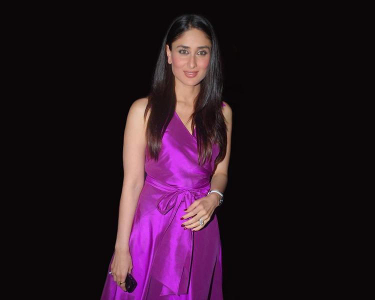 Kareena Kapoor Glamour Still In Magenta Color Dress