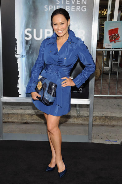 Tia Carrere Wears Blue Coat At Premiere Of Super 8