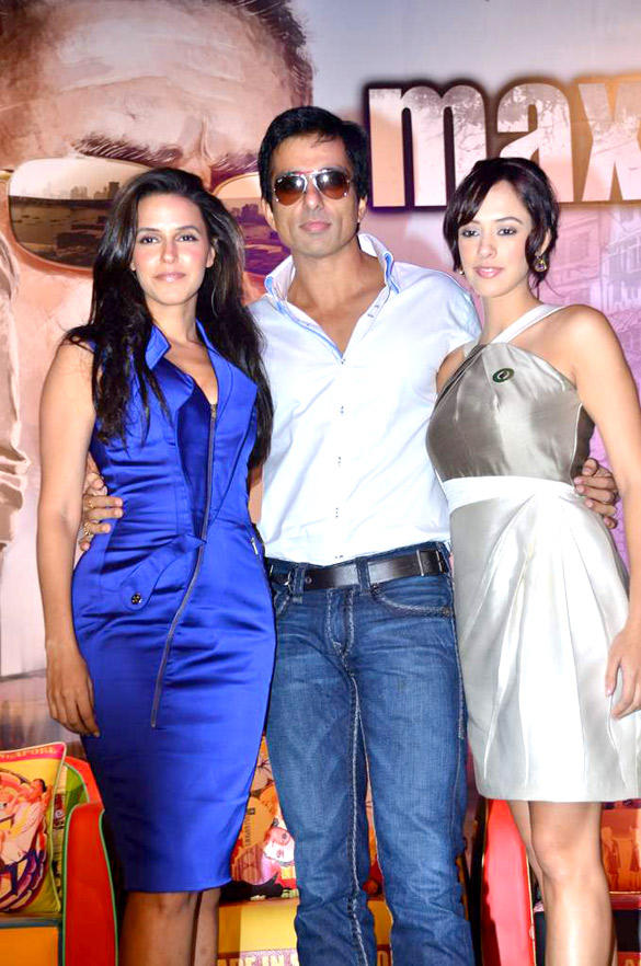 Sonu Sood with Neha Dhupia and Hazel Keech During The Press Conference