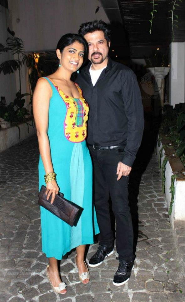 Anil Kapoor With A Friend Pose For Camera At Jackky Bhagnani Birthday Bash