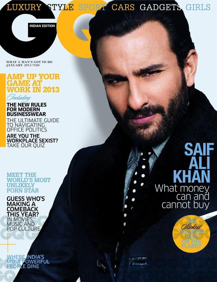 Saif Ali Khan On The Cover Of GQ India January 2013 Issue