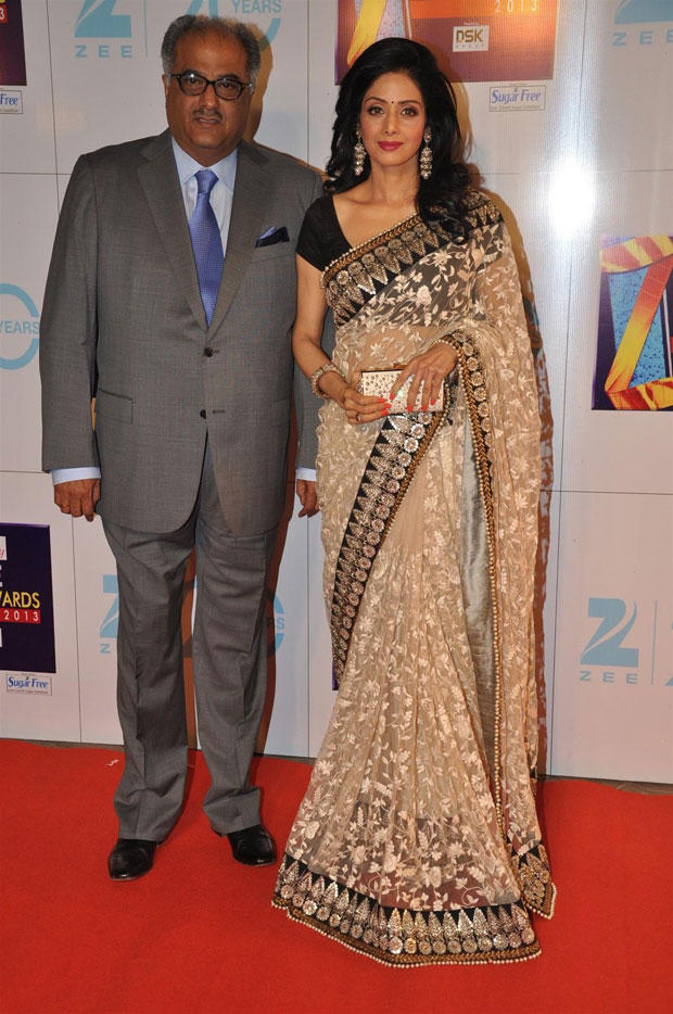 Boney And Sridevi Spotted On Red Carpet At Zee Cine Awards 2013