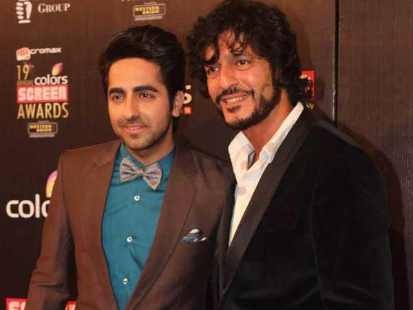 Ayushmann And Chunky  Snapped At 19th Colors Screen Award Ceremony 2013