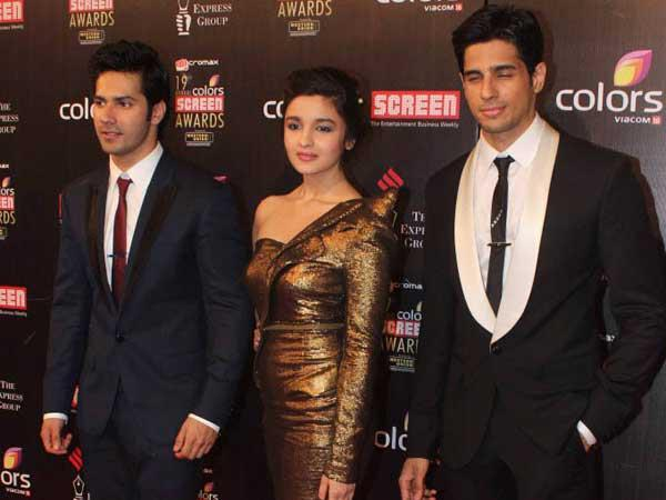 Varun,Alia And Sidharth Spotted At 19th Colors Screen Award Ceremony 2013