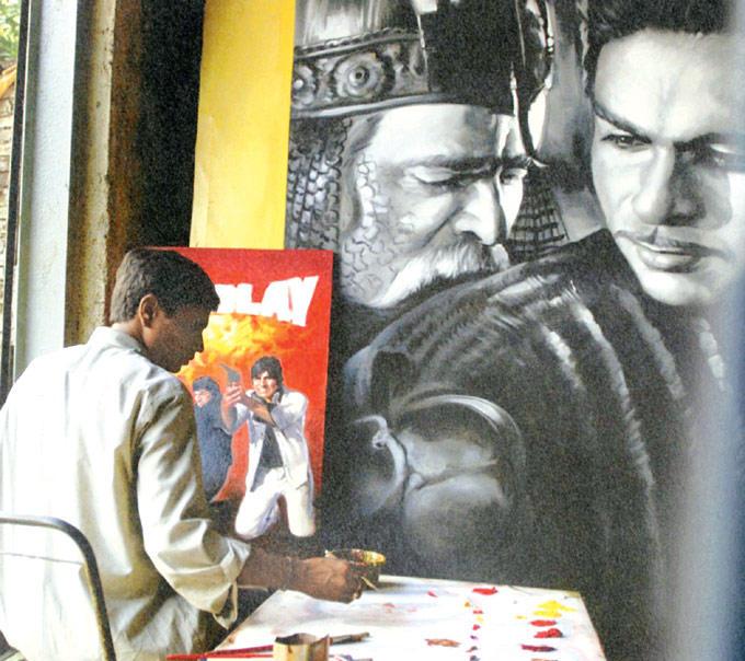 Sholay And Mughal-E-Azam Painting Photo