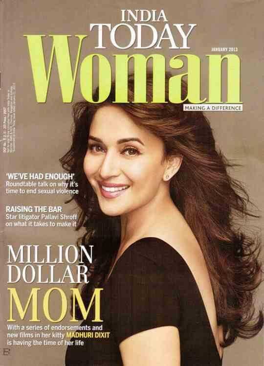 Madhuri Completed Her Look With Flowing Hair On The Cover Of India Today Woman