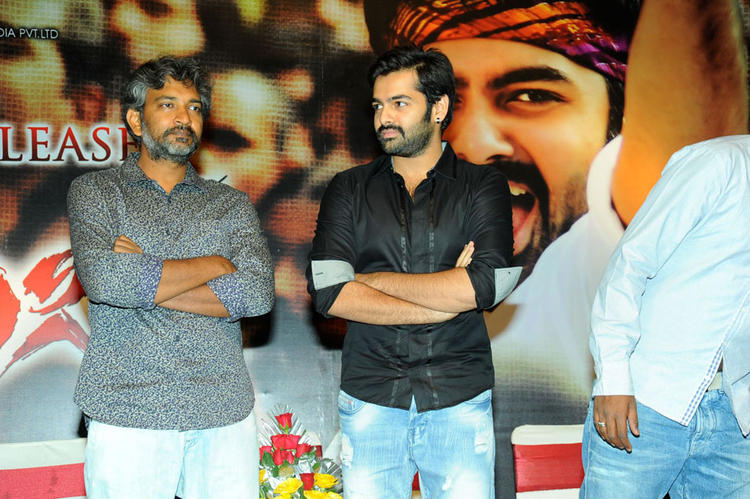 Ram Pothineni And S. S. Rajamouli Clicked At Ongole Gitta Audio Release Function