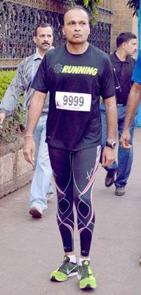 Industrialist Anil Ambani Snapped at Mumbai Marathon