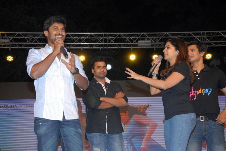 Swati,Nani,Nara Rohit And Nikhil On Stage At Swamy Ra Ra Audio Release Function