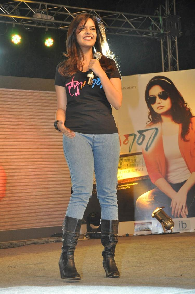Swati Reddy Flash A Smile On Stage At Swamy Ra Ra Audio Release