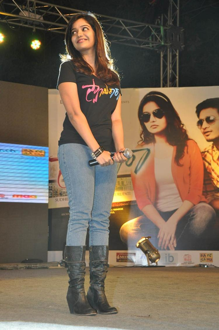 Swati Snapped On Stage At Swamy Ra Ra Audio Release Function