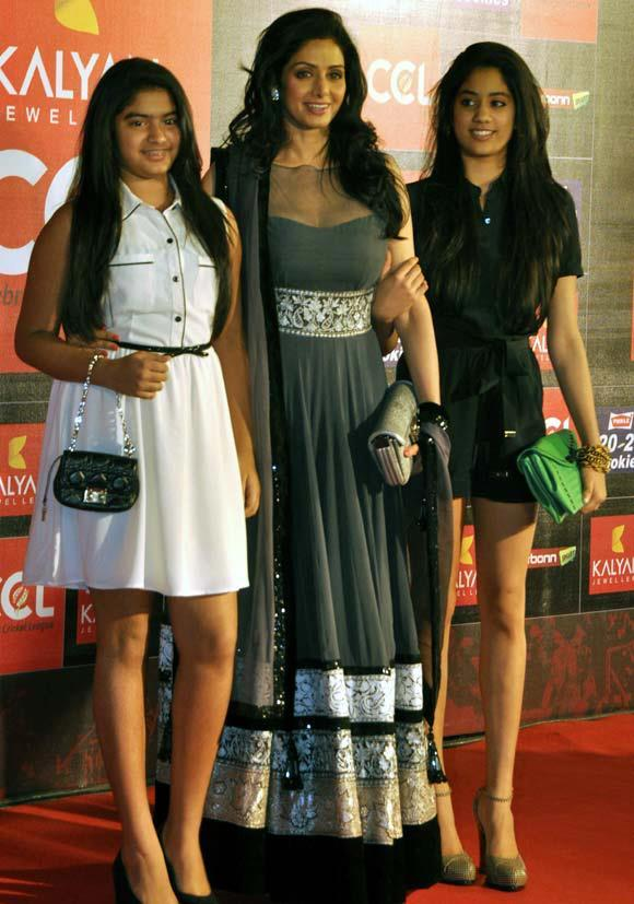 Sridevi With Daughter Jhanvi And Khushi Spotted At Celebrity Cricket League Curtain Raiser 2013
