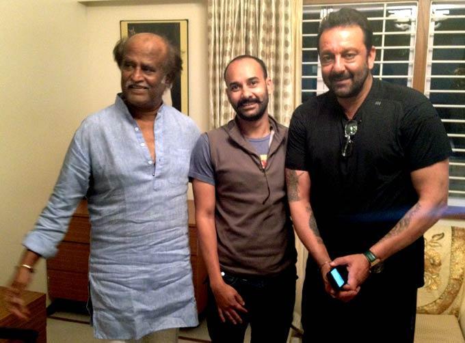 Sanjay And Rajinikanth Posed For Camera While Shooting For Policegiri