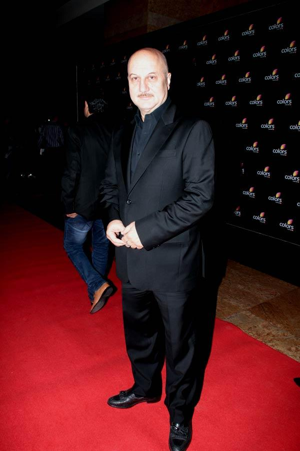 Anupam Kher Clicked In Red Carpet At Colors 4th Year Celebration Bash