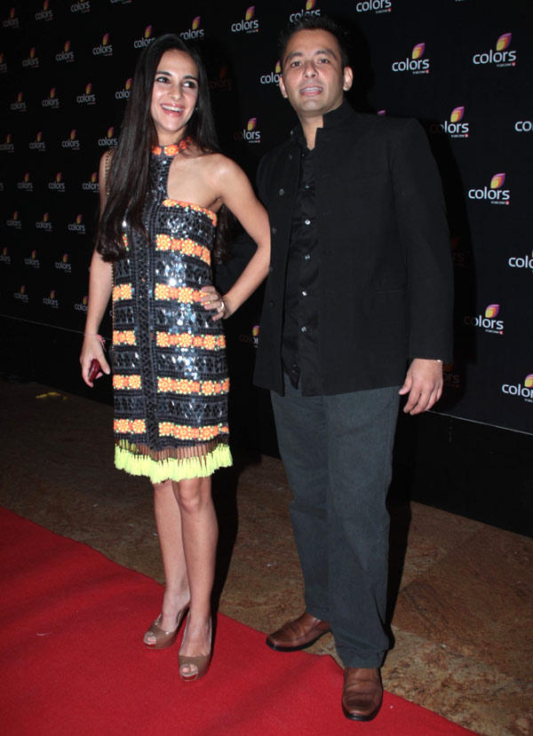 Tara Sharma Smiling Look In Red Carpet At Colors 4th Year Celebration Party
