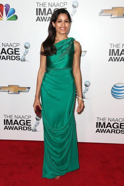 Freida Pinto Flashes A Smile In Red Carpet At The 44th NAACP Image Awards