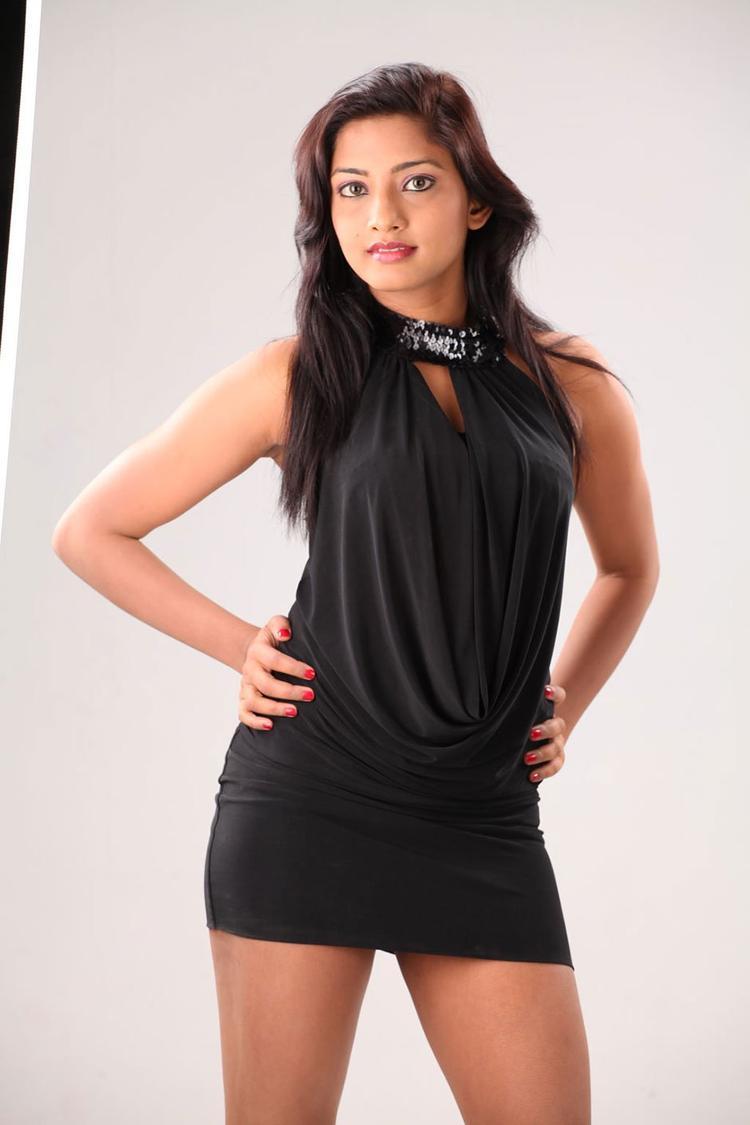 Kamna Glamorous Look Photo Still In A Mini Black Dress