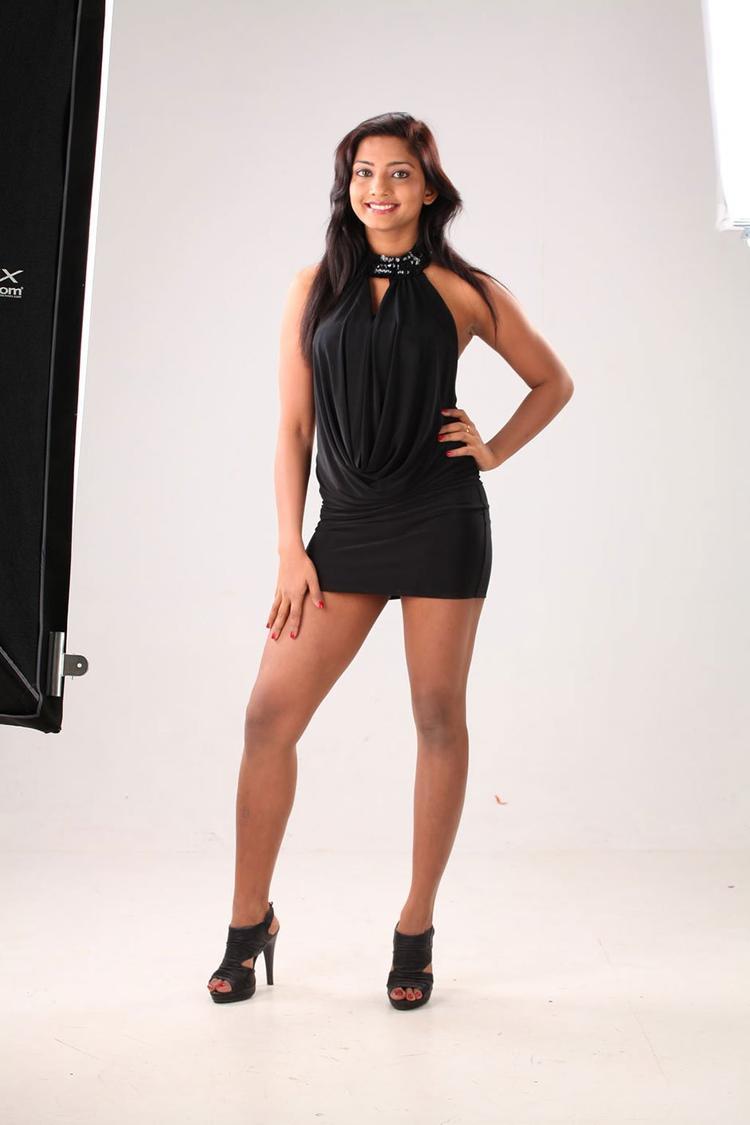 Kamna Spicy Pose Photo Shoot In A Mini Black Dress