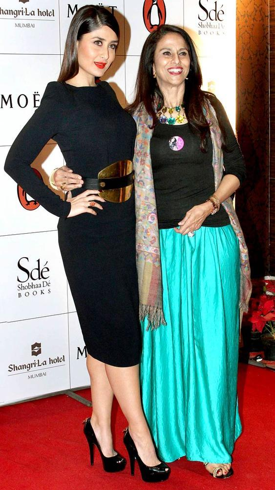 Shobha De With Kareena Kapoor Khan Posed In Red Carpet At Rochele Pinto Book Launch Event