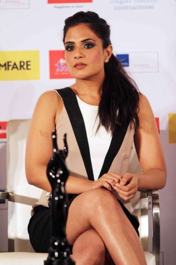 Richa Chadda Sexy Leg Show Photo Clicked At The Launch Of Filmfare Special Award Issue