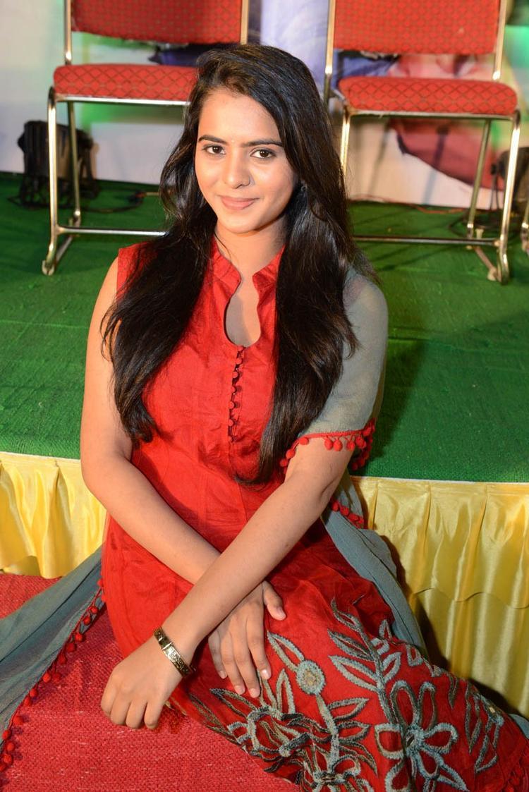 Manasa Glamorous Look Still A Red Dress At Romance Movie Teaser Launch
