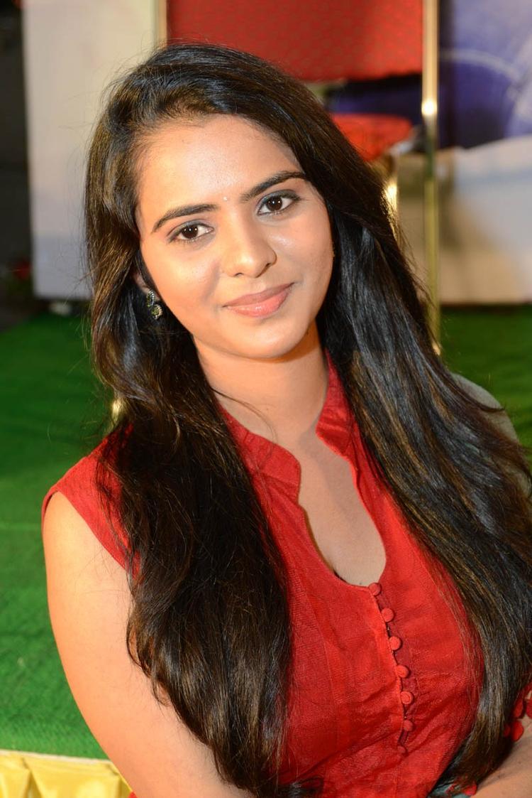 Manasa Trendy Looking Photo Still A Red Chudidar At Romance Movie Teaser Launch