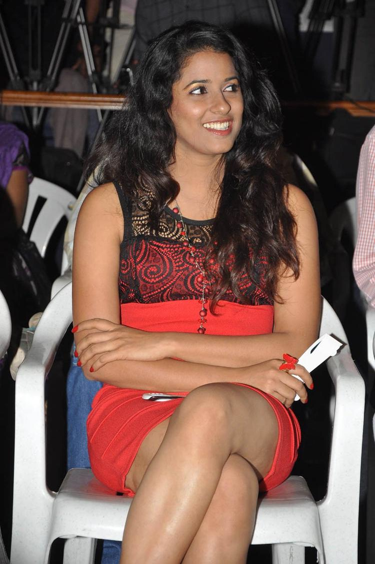 Shravya Cute Smiling Photo Clicked At Audio Launch Of Movie 143 Hyderabad