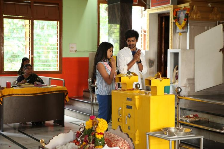 Raghavendra And Archana Prayer Photo Clicked During Working Of Movie Back Bench Student
