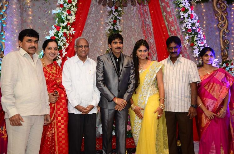 Gopichand With Wife And Guest Pose For Photo At His Wedding Reception