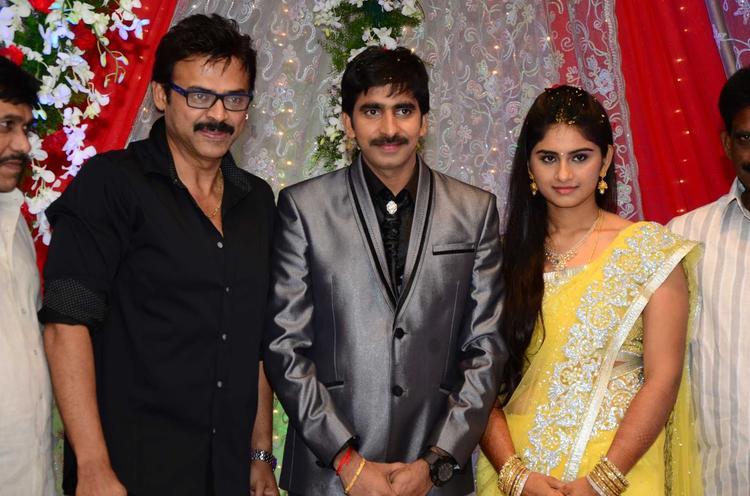Gopichand With Wife And Venketesh Pose For Camera At His Wedding Reception