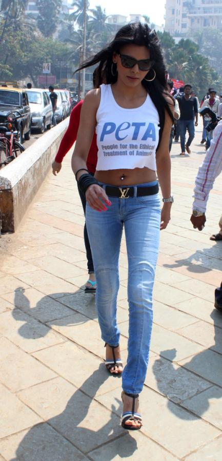 Sherlyn Chopra During The Promotion Of PETA's Safe Sex For Animals Campaign