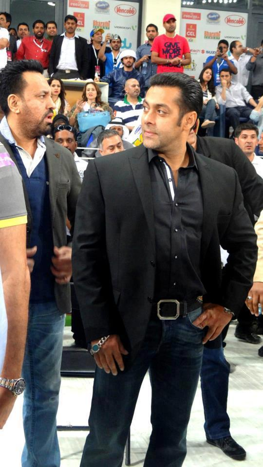 Salman With Bodyguard Shera Present At CCL 3 Held In Dubai