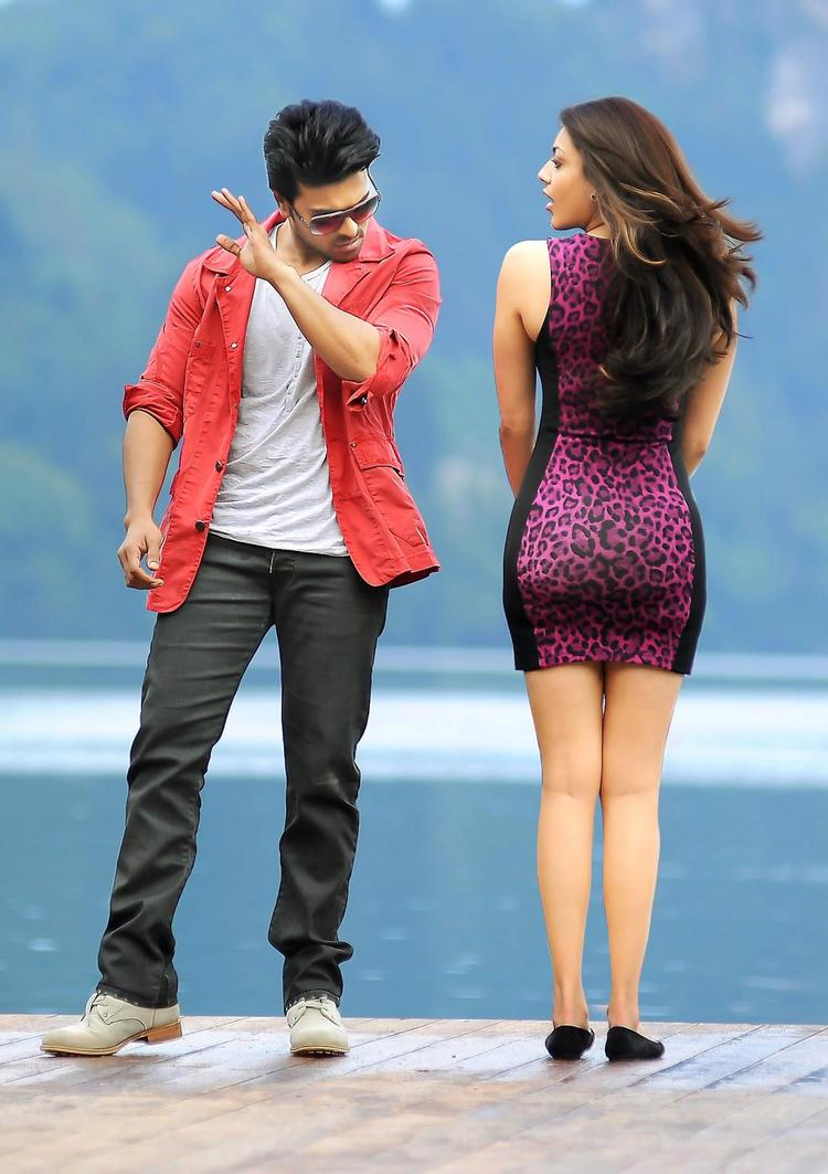 Ram Charan And Kajal Naughty Look Photo Still From Movie Naayak