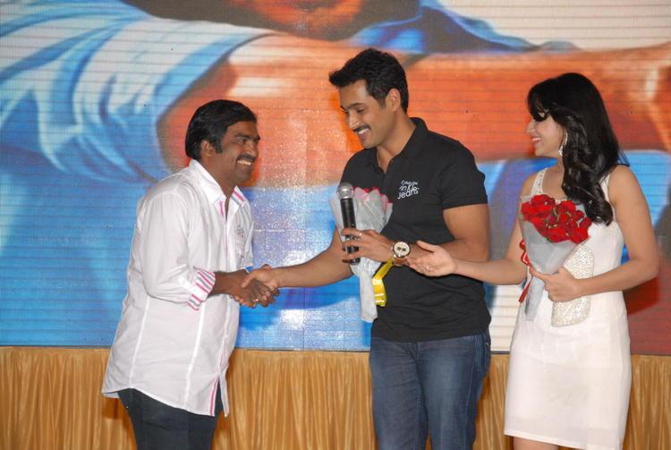 Uday And Reshma Smiling Photo Snapp At Jai Sriram Audio Launch Function
