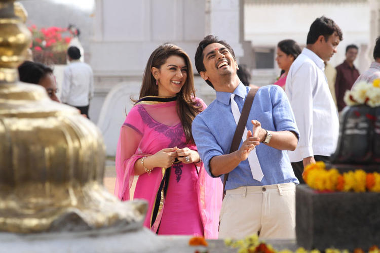 Siddharth And Hansika Cute Smiling Photo Still From Movie Theeya Velai Seiyyanum Kumaru