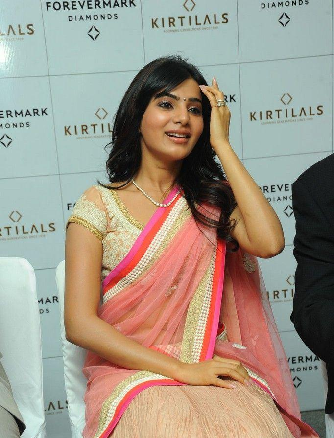 Samantha Looked Radiant In Saree At The Launch Of Diamond Jewellery In Kirtilal Jewellers
