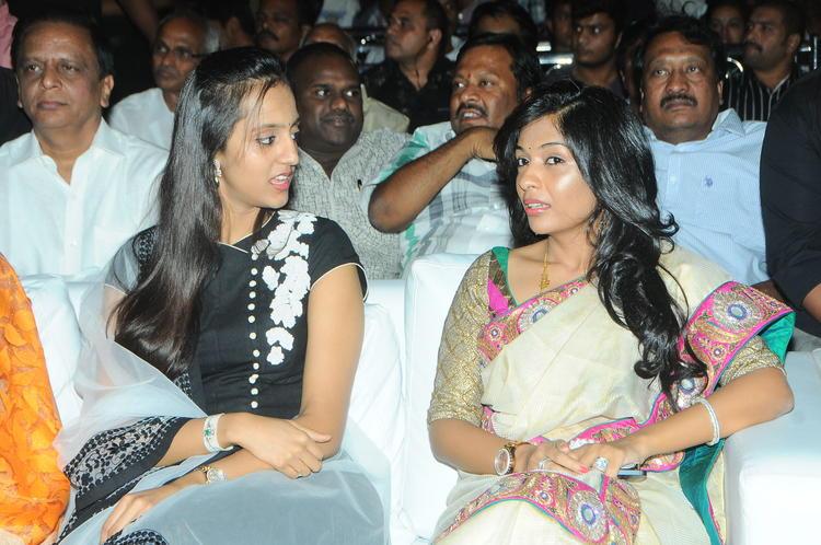 Shalini And Roopa Chatting Still At Badshah Audio Launch Function