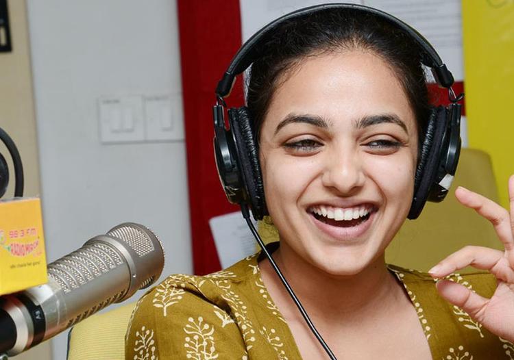 Nitya Menon Gorgeous Smiling Photo Still At Radio Mirchi