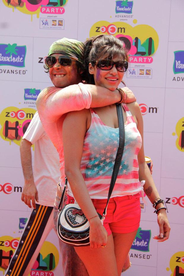 Celebs Hug Pose Photo Clicked At ZOOM Holi Party