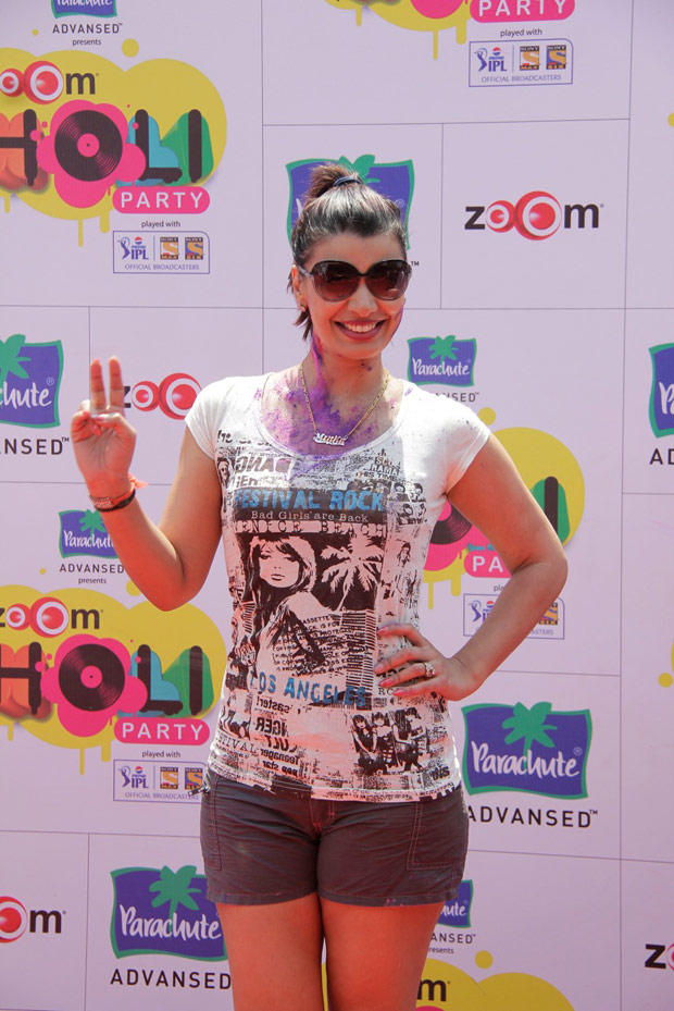Mink Brar Posed For Camera In A Short Pant And T Shirt At ZOOM Holi Party