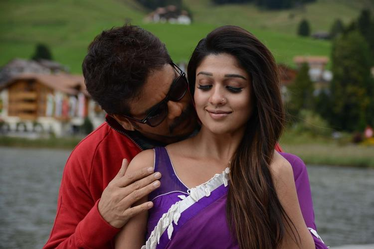 Nagarjuna And Nayantara Cute Expression Photo Still From Movie Greeku Veerudu