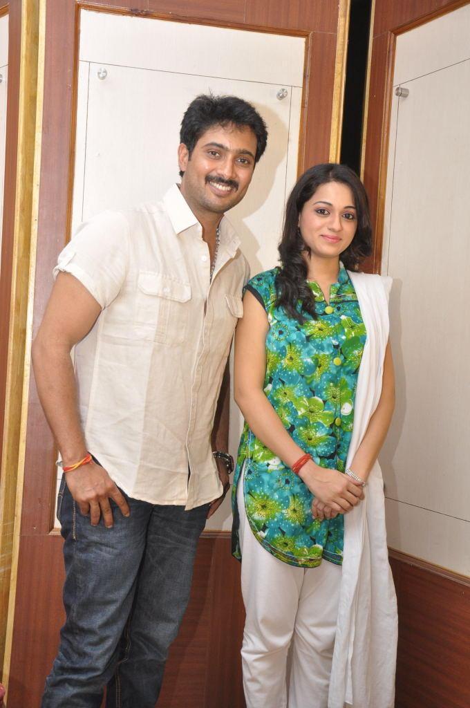 Uday And Reshma Smiling Pose For Camera At Jai Sriram Movie Platinum Disc Function