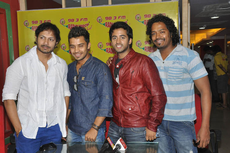 Revanth With Friends Posed For Camera At Radio Mirchi During Promotion Of Intinta Annamayya