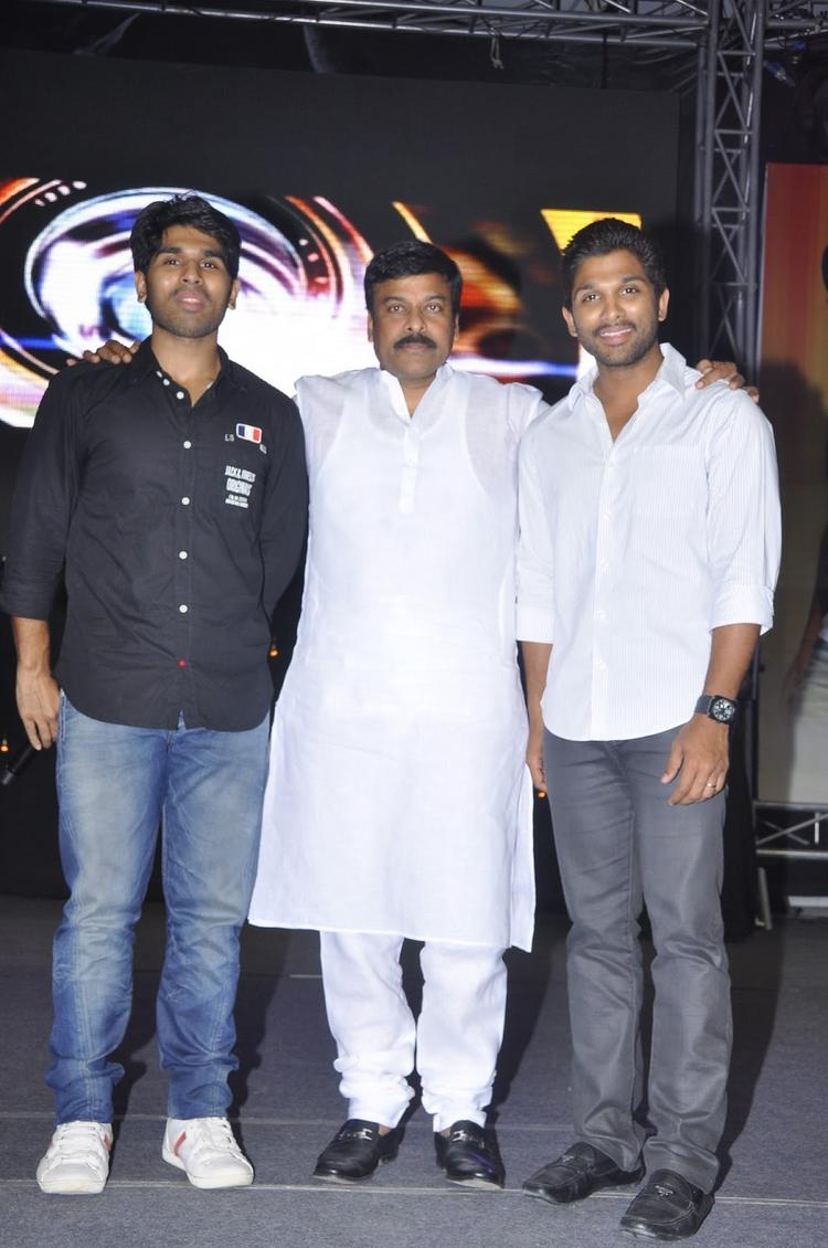 Chiranjeevi With Allu Sirish And Allu Arjun Make An Appearance To Promote Movie Gouravam