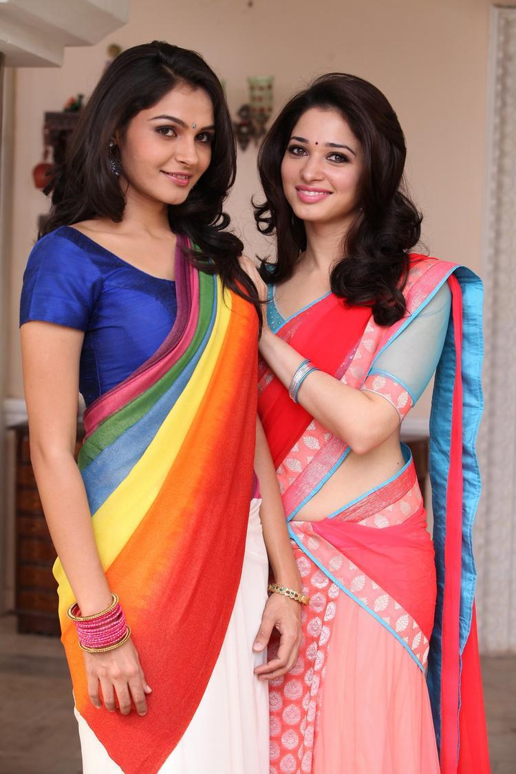 Andrea Jeremiah And Tamannaah Bhatia Smiling Look Still From Thadaka Movie