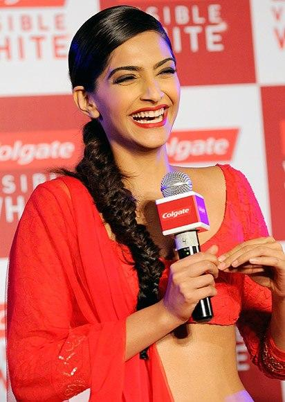 Gorgeous Sonam Smiling Look At Colgate Visible White Launch Event