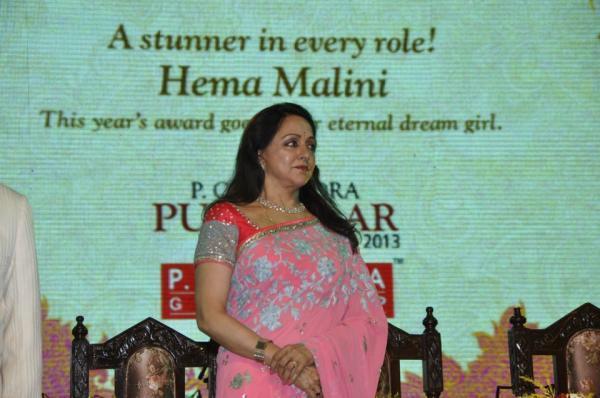Hema Malini Nice Look In Saree At 21st P.C. Chandra Purashkaar Award Ceremony